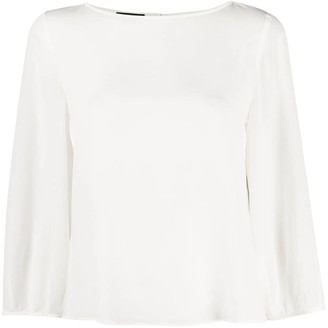 Emporio Armani Silk Cropped Sleeve Blouse