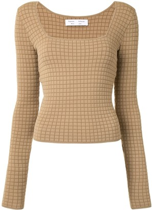 Proenza Schouler White Label Quilted Knit Square-Neck Top