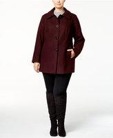 London Fog Plus Size Layered-Collar Peacoat