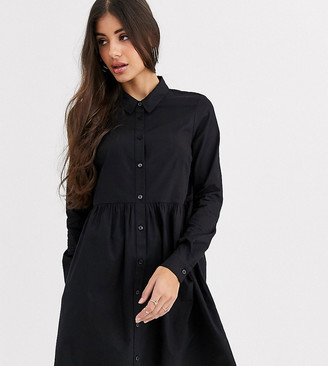 Asos Tall ASOS DESIGN Tall cotton mini smock shirt dress in black