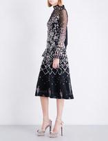 Temperley London Glen trumpet-sleeve embellished tulle dress