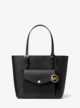 MICHAEL Michael Kors MK Jet Set Medium Saffiano Leather Pocket Tote Bag - Black - Michael Kors