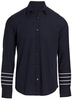 Nominee Long-Sleeve Arm Striped Button-Front Shirt