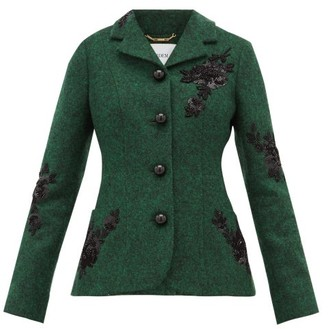 Erdem Benjamin Embroidered Felt Jacket - Womens - Green Multi