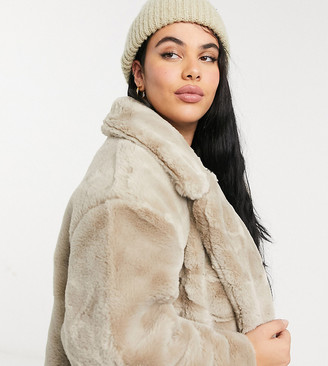 Simply Be longline faux fur coat in sand