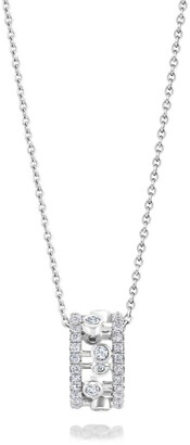 De Beers White Gold and Diamond Dewdrop Pendant Necklace