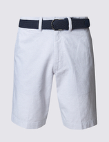 Blue Harbour Pure Cotton Striped Shorts With Belt