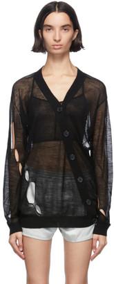 Ann Demeulemeester Black Wool Asymmetric Cardigan