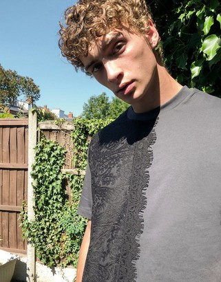 ASOS DESIGN relaxed t-shirt with lace splice in black