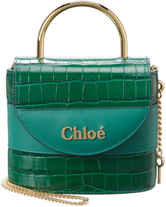 Chloé Aby Small Lock Chain Croc-Embossed Leather Crossbody