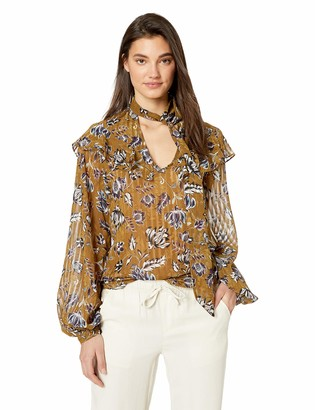 BCBGMAXAZRIA Women's Long Sleeve Floral Ruffle Blouse