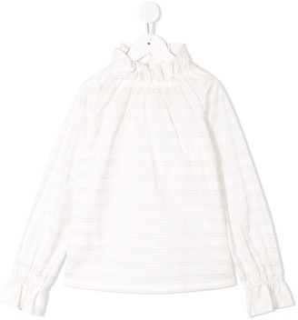 Familiar Ruffle Neck Striped Top