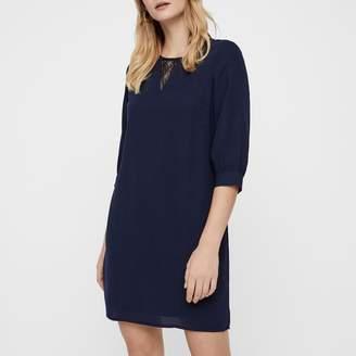 Vero Moda Mini Laced Shift Dress with Puff Sleeves