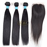 "KBL 7A Brazilian Virgin Hair Straight Remy Human Hair 3 Bundles with 4*4 Silk Base Closure Free Part 180% Density Black #1B (3*30"" hair weft+18"" lace closure)"