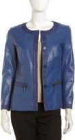 Lafayette 148 New York Twill-Trim Leather Jacket, Marina
