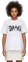 MSGM White and Silver Degrade Logo T-Shirt