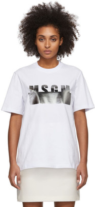 MSGM White and Silver Degrade Logo T-Shirt