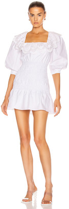 Self-Portrait Poplin Mini Dress in White | FWRD
