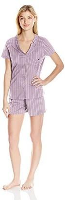 Nautica Women's Printed Cotton Knit Short Set