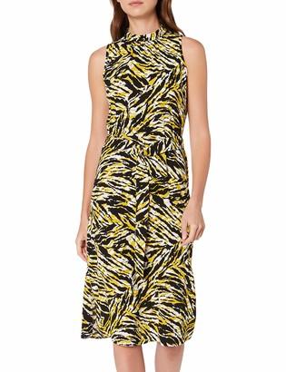 Dorothy Perkins Women's Yellow Tiger High Neck Woven Midi Party Dress