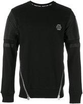 Philipp Plein zipped biker patch sweatshirt - men - Cotton/Polyester/Polyurethane - M
