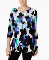 JM Collection Floral-Print Keyhole Tunic, Created for Macy's