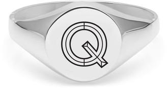 Myia Bonner Silver Q Facett Initial Signet Ring