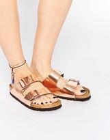 Birkenstock Arizona Metallic Copper Narrow Fit Flat Sandals