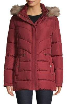 Larry Levine Faux Fur-Trim Puffer Coat