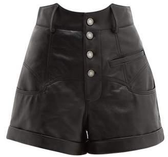 Saint Laurent High-rise Leather Shorts - Womens - Black