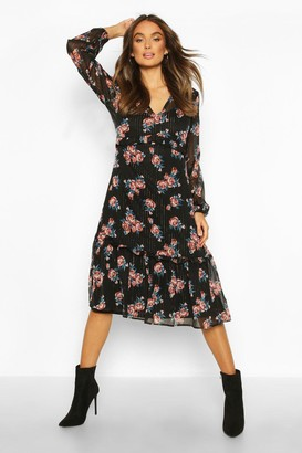 boohoo Chiffon Rose Print Midaxi Dress