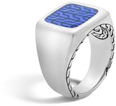 John Hardy Classic Chain Silver Signet Ring with Transparent Blue Enamel