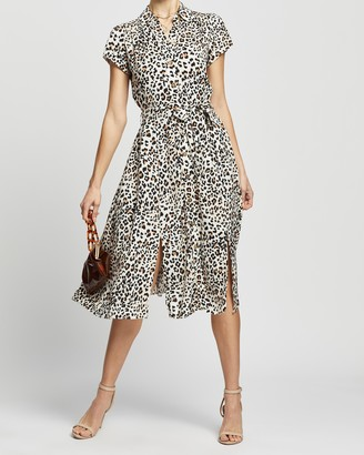 Dorothy Perkins Multicolour Leopard Print Tie Front Shirt Dress