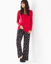 Soma Intimates Scoopneck Long Sleeve Pajama Set Kiss Me Ruby