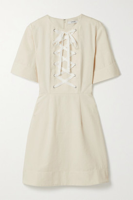 Marysia Swim Proti Lace-up Cotton-canvas Mini Dress - Cream