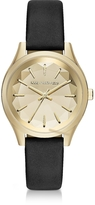 Karl Lagerfeld Janelle Gold-tone PVD Stainless Steel Women's Quartz Watch w/Black Leather Strap