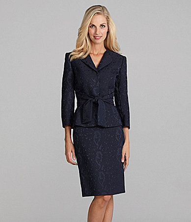 Tahari by Arthur S. Levine Tahari by ASL Jacquard 2-Piece Skirted Suit