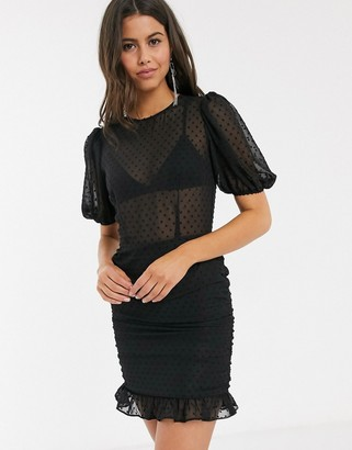 Asos DESIGN dobby mini dress with frill skirt and puff sleeve in black
