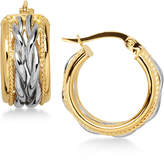 Macy's Two-Tone Braided Hoop Earrings in 14k Gold and White Gold