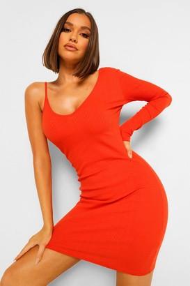 boohoo Ribbed One Shoulder Mini Dress