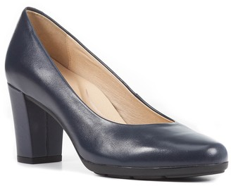 Geox Annya Leather Block Heel Pump