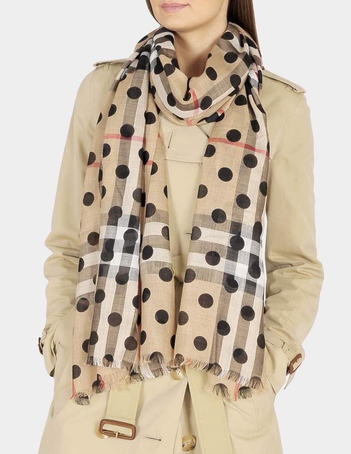 Burberry 220X70 Dot Gauze Giant Check Stole in Black Wool and Mulberry Silk