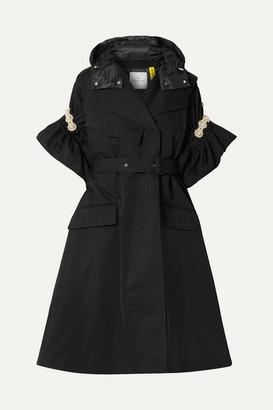 MONCLER GENIUS 4 Simone Rocha Faux Pearl-embellished Shell Trench Coat - Black