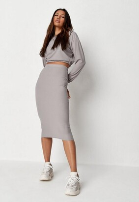 Missguided Grey Marl Rib Crop Top And Midaxi Skirt Co Ord Set