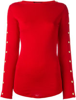 Balmain button sleeve pullover - women - Cotton - 38