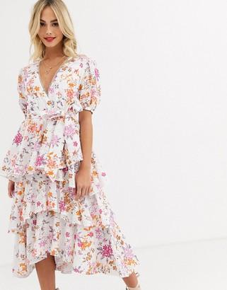 Talulah jasmine vines floral embroidered tiered midi dress