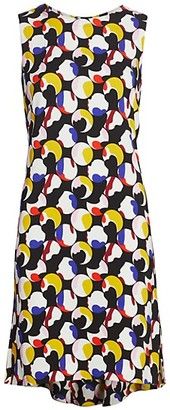 Akris Punto Floating Dot Print Sleeveless Shift Dress
