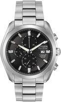 Citizen Eco-Drive Mens Silver-Tone & Black Chronograph Watch CA0020-56E
