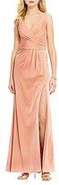 Xscape Evenings Long Satin Faux-Wrap V-Neck Sleeveless Front Slit Gown