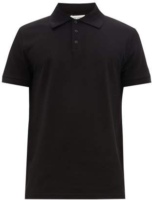 Saint Laurent Monogram-embroidered Cotton-pique Polo Shirt - Mens - Black
